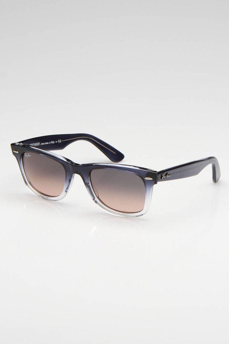 Ray Ban Wayfarer Sunglasses In Blue & Clear