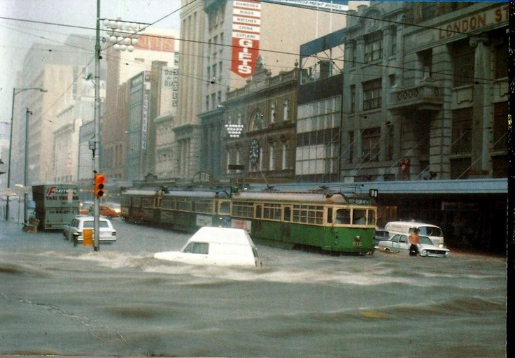 Bourke St during a flood in 1972