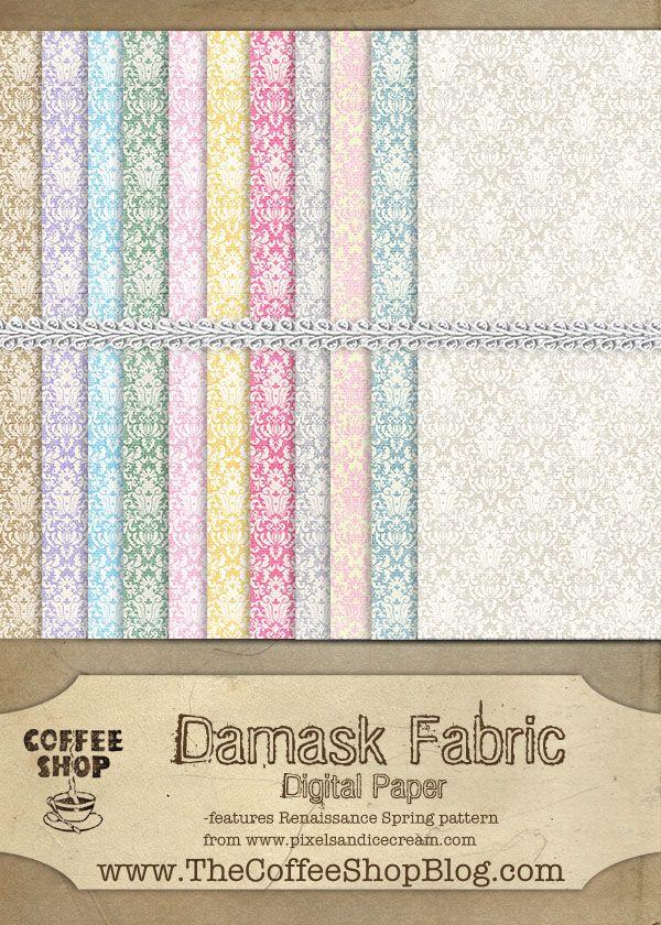 CoffeeShop Free Damask Fabric Digital Paper!