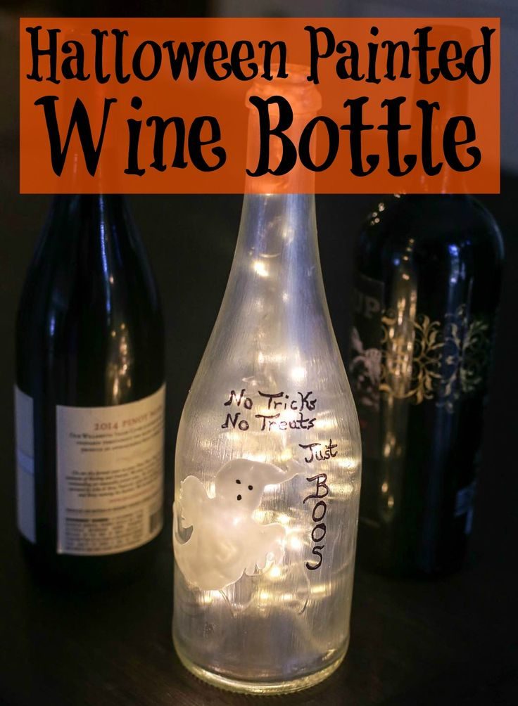 halloween painted wine bottle