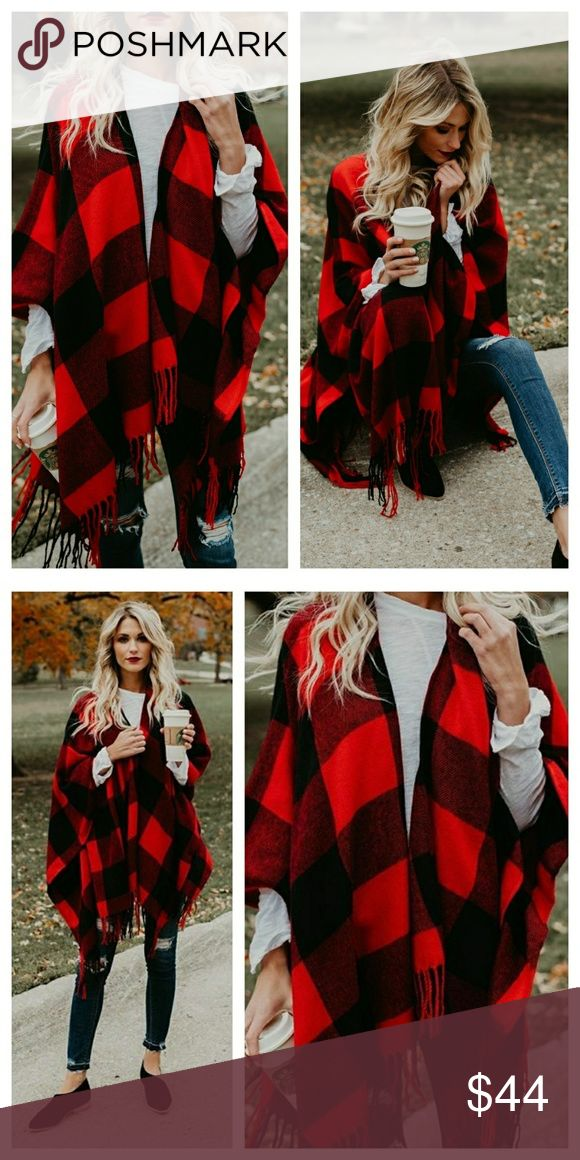 ️ red and black buffal check tassel poncho New red and black plaid buffalo check poncho with tassles. Fringed edges, no arm holes  100% acrylic Accessories Scarves & Wraps