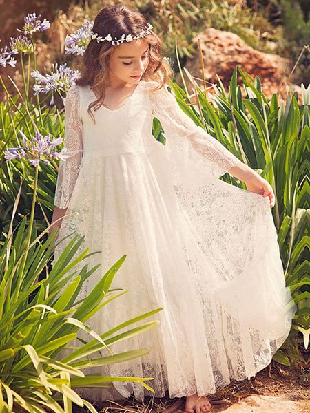 Boho Flower Girl Dress White Lace Flare Sleeve Sash A Line V Neck Ankle Length Junior Bridesmaid Dress