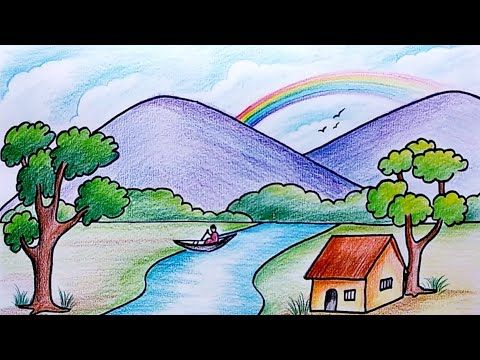 How To Draw Simple Scenery Drawing For Beginners Village Scenery Drawing Youtube Scenery Drawing For Kids Easy Scenery Drawing Drawing Scenery