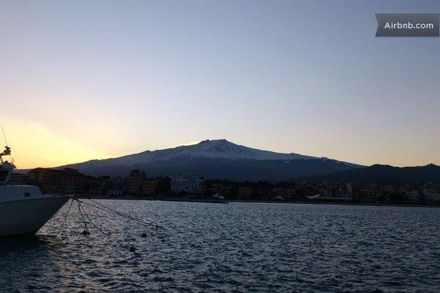 Etna mount & volcano from Giardini Naxos Harbour only few