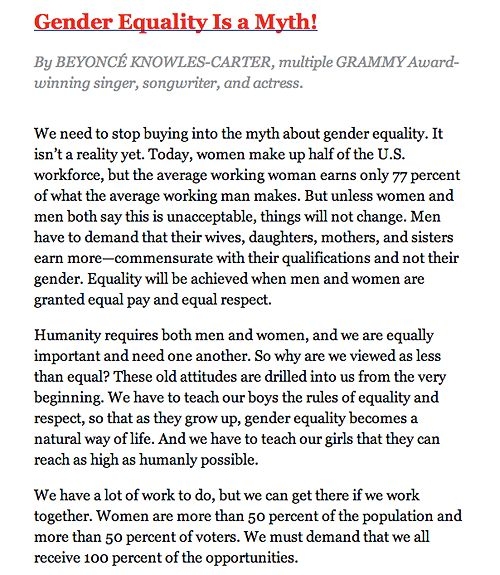 Essay Gender Equality Best Grand Opening Grand Closing Beyonce