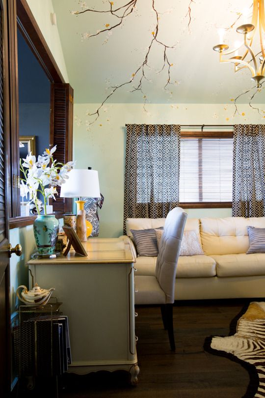 the branches here.... wonder if I could paint something like this on roller blinds.... Jeannie and Freddy's Rustic Meets Luxe Home in the Hills