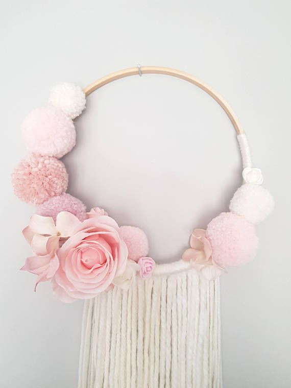 Pompom Floral Wall Hanging, Dream catcher, Nursery Decor, Baby Shower Decorations, Girl Nursery – Laci Weber