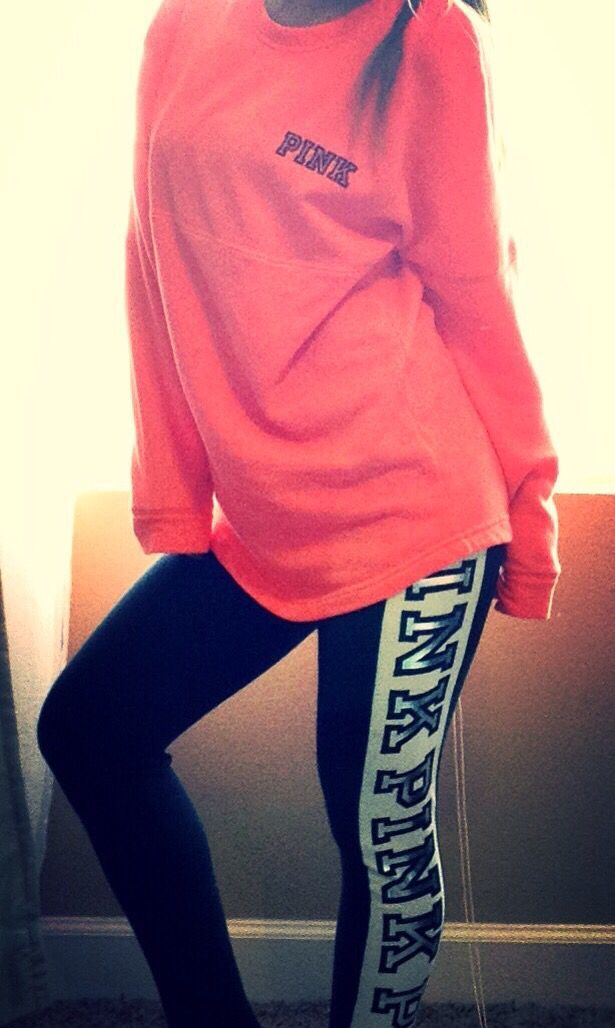 VS Pink Varsity Crew & fashion leggings I have this and I love it but my mine is in a different color and leggings