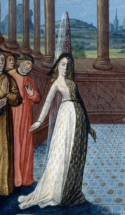 British Library, Harley 4338, f. 1v. Boethius, Le Livre de Boece de Consolacion (Book 4) Bourges, 1477. 'Philosophy'.