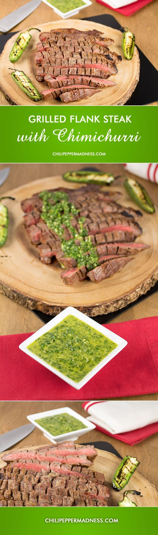 Grilled Marinated Flank Steak with Chimichurri Sauce from http://ChiliPepperMadness.com