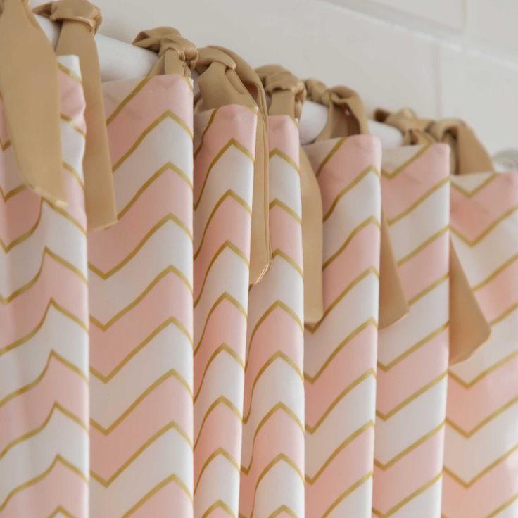 Drapery Panel in Pale Pink and Gold Chevron by Carousel Designs.
