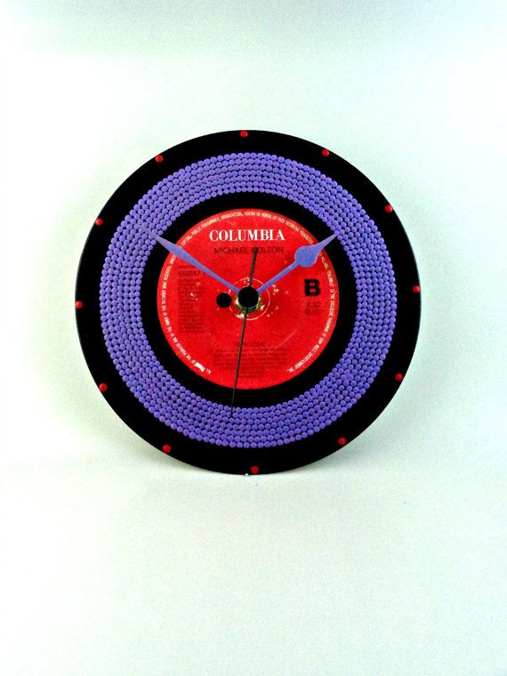 45rpm Vinyl Record Clock Hand Painted Upcycled by InsaneDotting