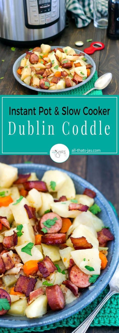 Authentic Irish dish, this Dublin coddle is hearty, flavorful, and easy to make with basic pantry ingredients - potatoes, onions. bacon, smoked sausage, and carrots. | allthatsjas.com | #Irish #coddle #StPatricksDay #recipe #slowcooker #instantpot #easy #dinner #maindish #authentic #pork #glutenfree