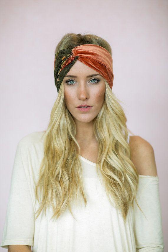 Turban Headband Rust Velvet & Grunge Lace by ThreeBirdNest on Etsy, $28.00
