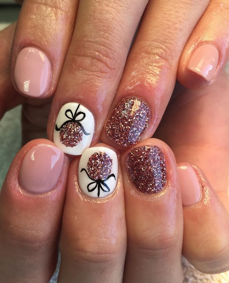 Emmadoesnails christmas nails winter nails ornament nails nude nails nail art nail design cute nails pretty nails