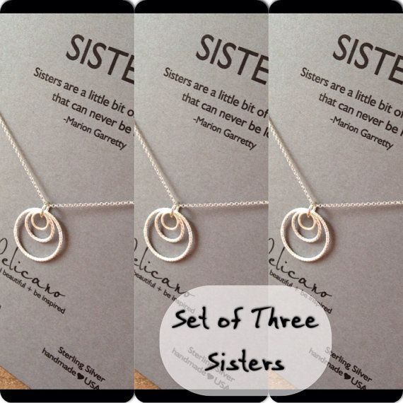 Sisters Necklace. Three Sisters jewelry. Inspirational gift (site also has two sisters necklaces)