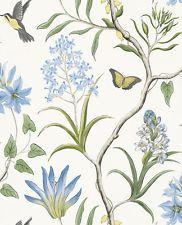 Rollo 10M Azul Vintage Pájaro Mariposa Flor Floreciente papel tapiz de desplazamiento Envío Gratis