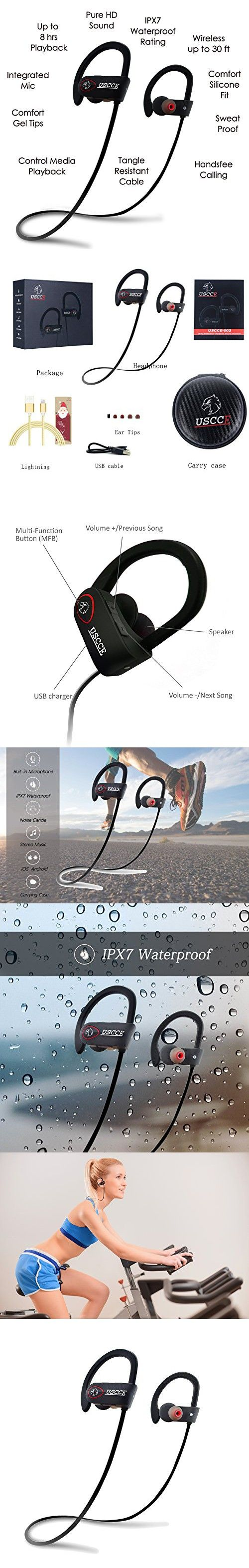 USCCE Bluetooth Headphones, Best Wireless Sports Earphones with Mic IPX7 Sweat and Waterproof HD Stereo Earbuds, Noise Cancelling 8 Hr Playtime for Gym Running Workout Secure Fit Headsets (Black Red)