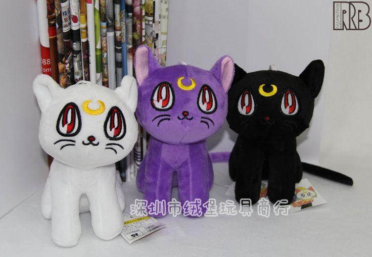J.g чен аниме сейлор мун 3 цвета кот луна артемида плюшевые игрушки куклы мягкие фаршированная куклы 18 см фиолетовый белый черный