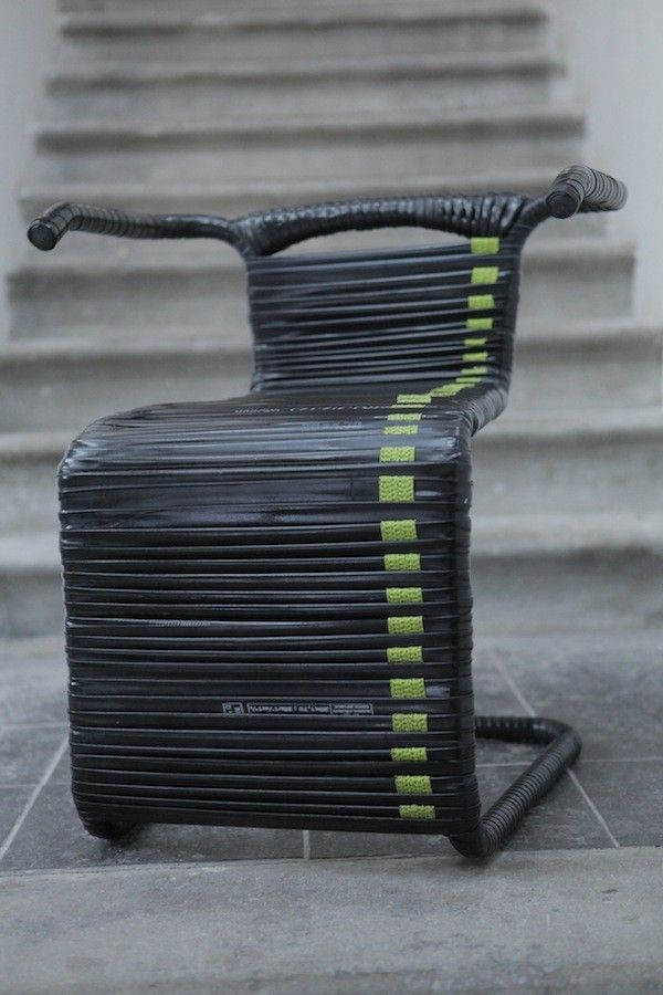 Chair made from bike inner tubes - Recyclart