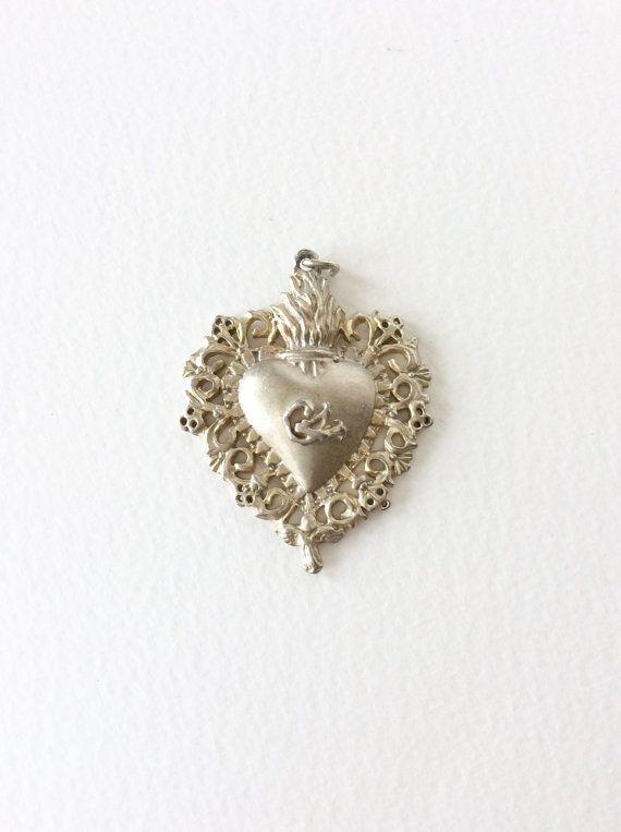 Vintage flaming sacred heart. Ex voto by SouthofFranceFinds