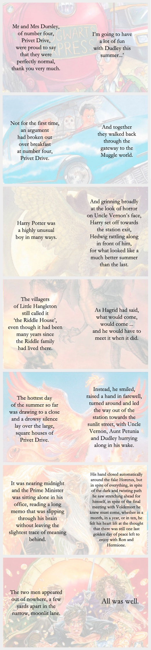 First and Last lines of each Harry Potter book.....
