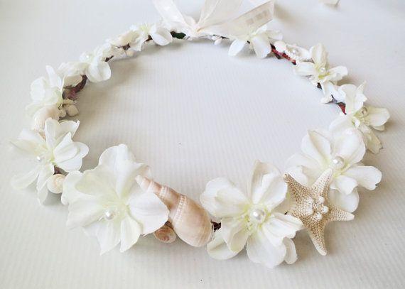 Beach Wedding Flower Crown-Sea Shell Flower Crown-Beach Wedding Hair Crown-Crown of Sea Shells-Ivory Flower Crown