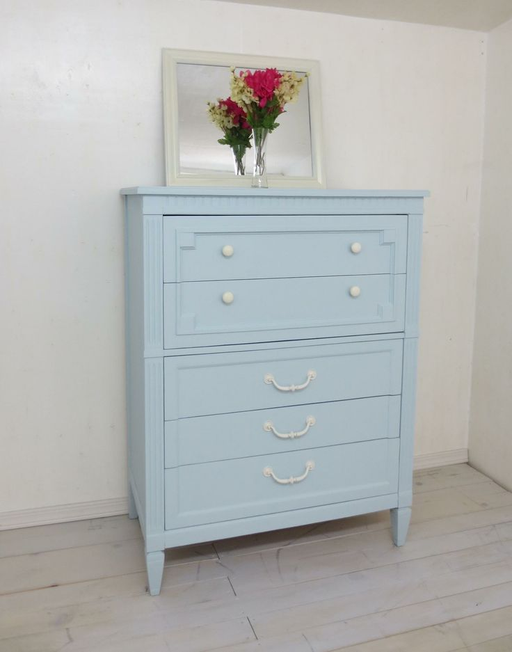 Painted Vintage Dresser Refinished in Little whale Fusion Mineral paint. $295