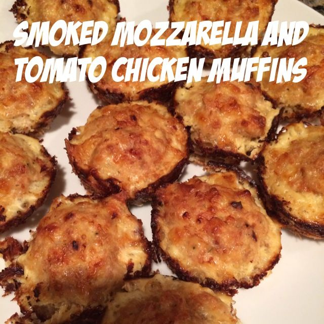 Smoked Mozzarella and tomato ground chicken muffins - gluten free, fast, easy, healthy...and 21 day fix approved!!