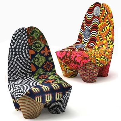 Image Source mashmoom.blogspot.com  Binta for Moroso is an African-inspired armchair by Swiss designer Philippe Bestenheider. The chair's form is based on African wood carvings and the upholstery is based on Senegalese patchwork fabrics.