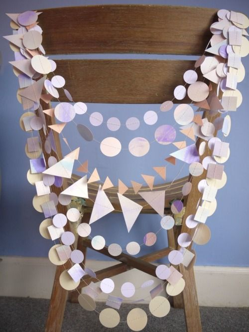 Delysia chair garland pack with hand-painted strands and soft pastel tones  Handmade party decorations Check out our store - paperstreetdolls.etsy.com