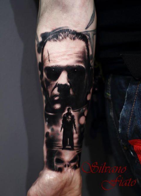 Black And Red Punisher Skull Tattoo