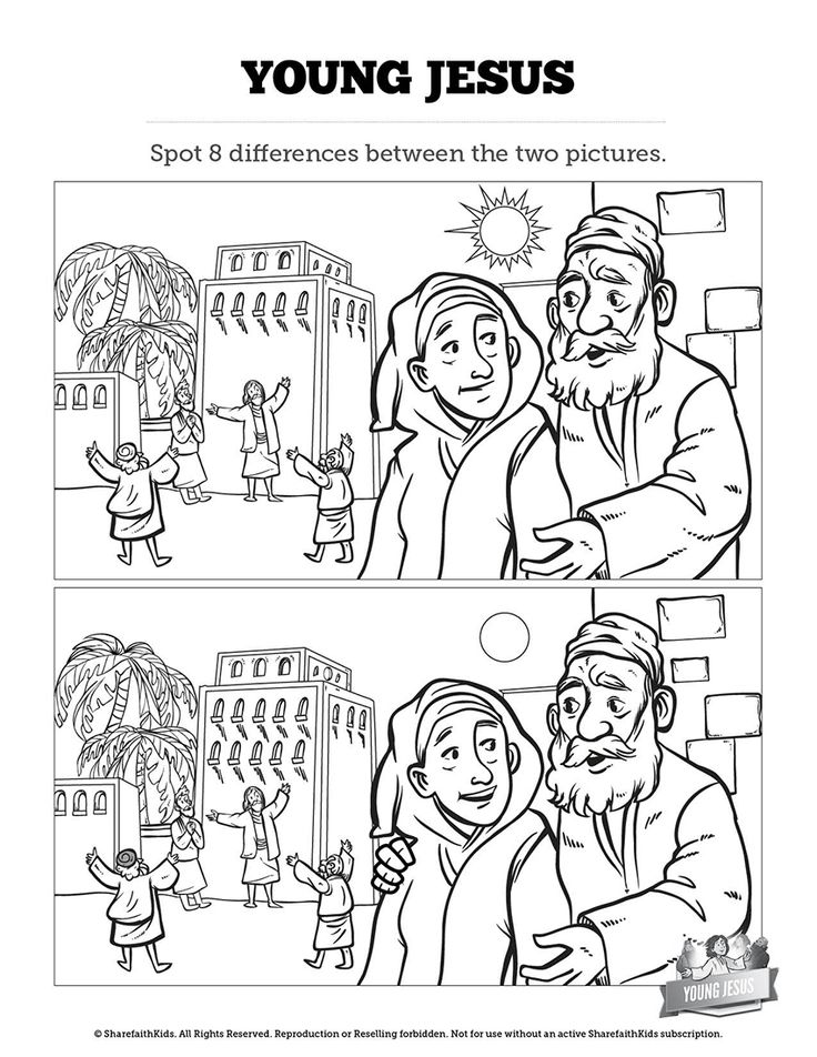 Jesus As A Child Kids Spot The Difference: Can your kids spot all the differences between these two Jesus as a child Sunday school illustrations. Built with artwork from Luke 2:39-52 this Jesus as a child activity is filled with the silly fun your kids love!