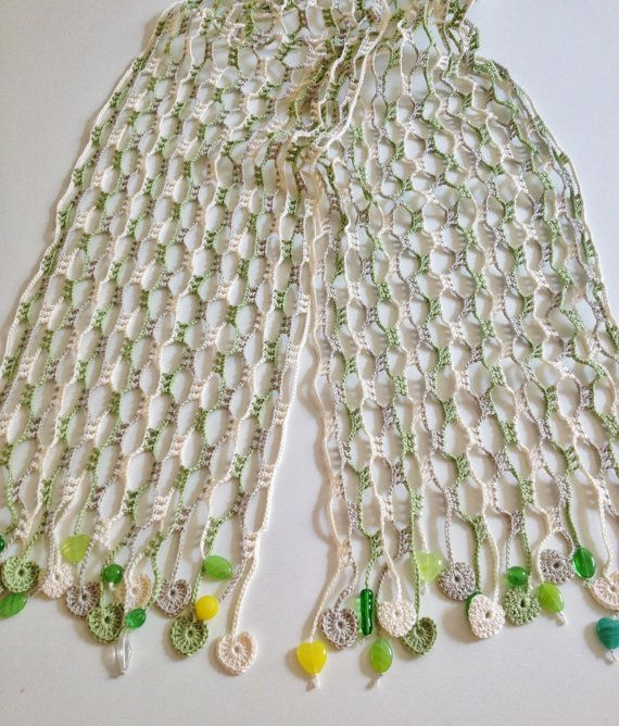 Nature hearted beaded summer scarf by GabyCrochetCrafts on Etsy