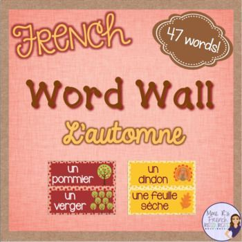Do you want an easy way to incorporate some FALL vocabulary into your lessons? These 47 word wall cards are perfect for your bulletin board or wall, and they will be a perfect addition to your classroom! You'll get 47 words with graphics inside cute fall-colored polka-dot borders. Includes Je porte + 10 seasonal clothing items to introduce even more vocabulary! Click here to see more!