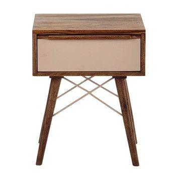 Nachttisch aus massivem Sheeshamholz mit Schublade, B 42cm, rosa - Nina