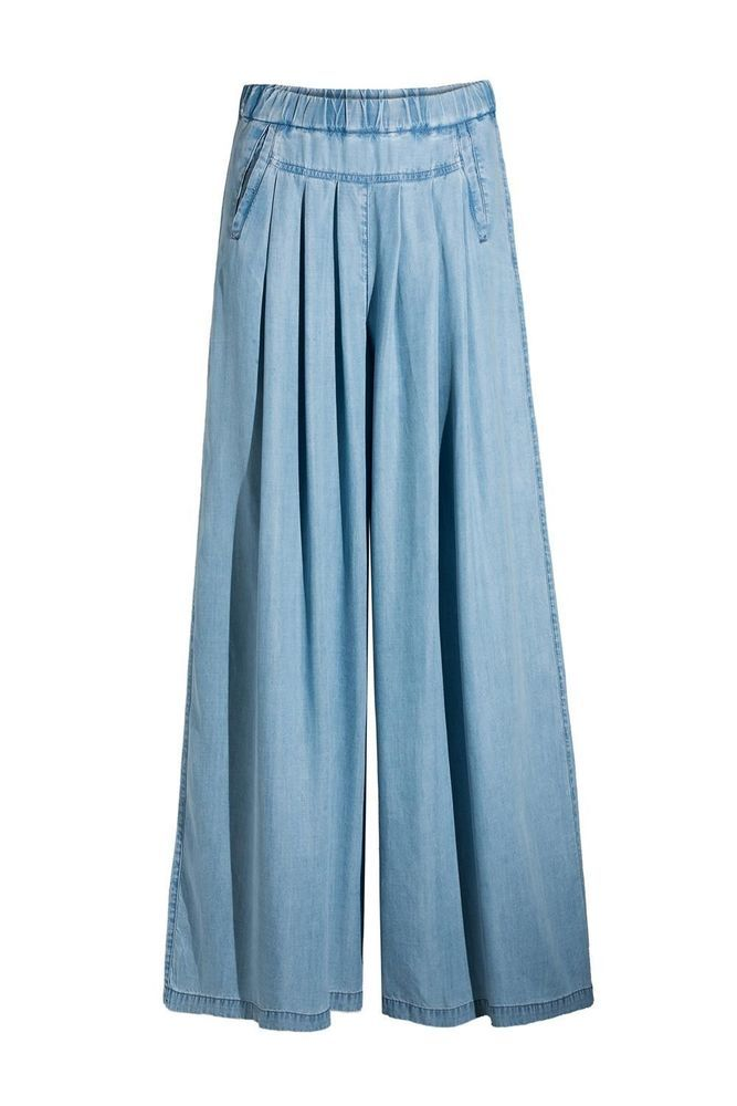 NEW COP COPINE FADED BLUE DENIM Soft Peach Palazzo FLARE TROUSERS S M L Zarasos #CopCopine #Palazzo