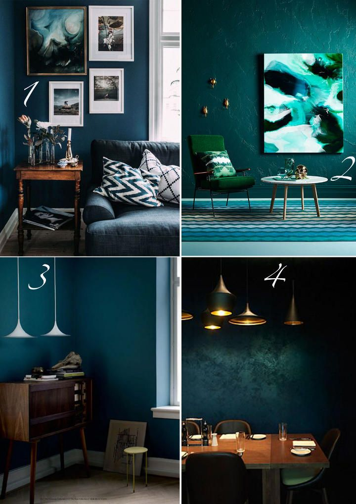 Deep blues and rich greens from top left to right decouvrirdesign com pinterest