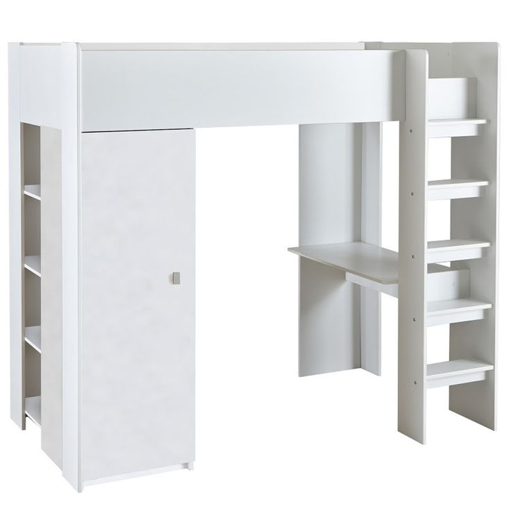 KIDS HIP HIGH SLEEPER BED in White with Wardrobe, Desk and Storage