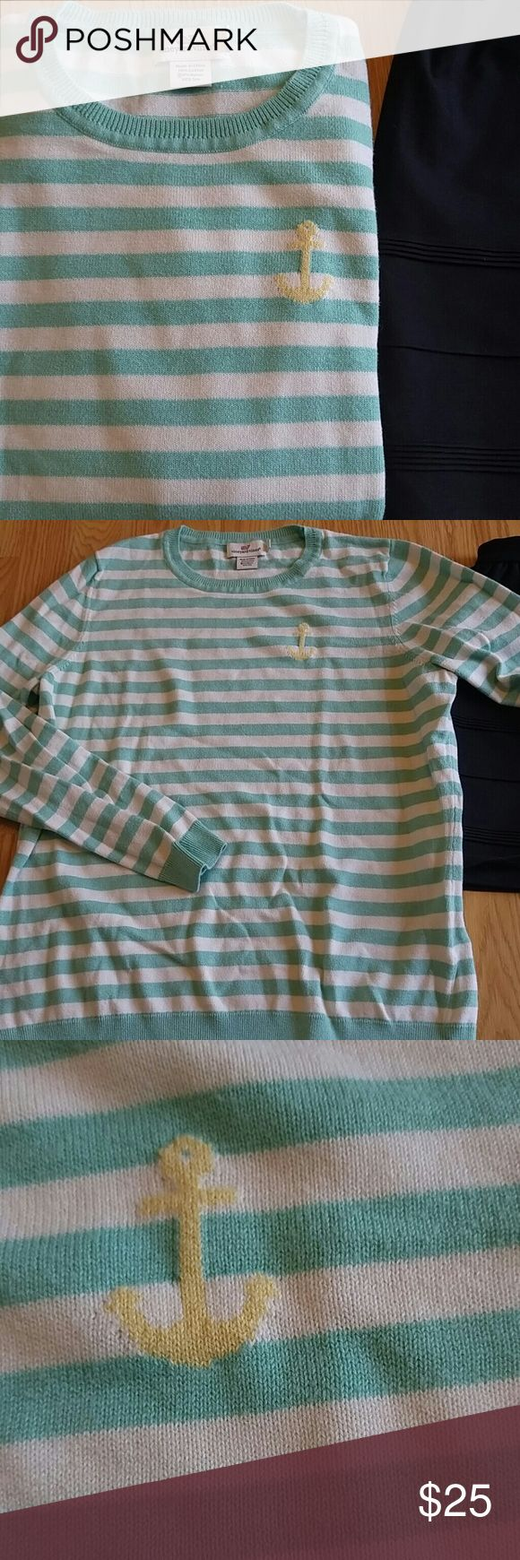 Vineyard Vines Aqua Stripe Anchor Sweater L Super cute nautical sweater with aqua and white stripes and yellow anchor! Adorable layering piece for unpredictable spring weather! Good used condition; Make me an offer or bundle to save! Vineyard Vines Sweaters Crew & Scoop Necks