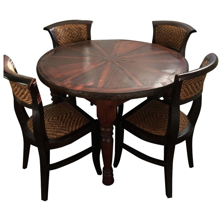 Wooden Dining Set - Set of 5 on Chairish.com