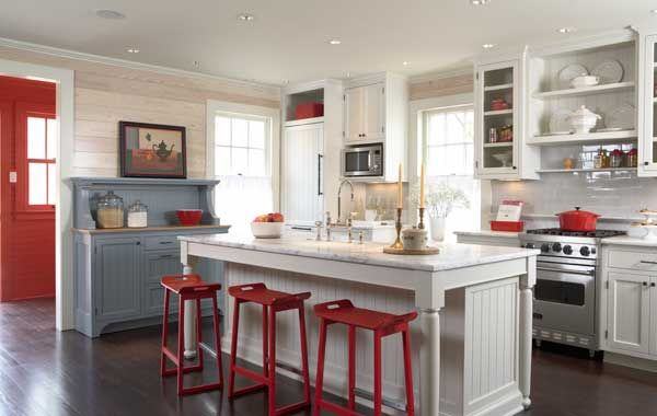 MY kitchen, exactly what style I want; a bit rustic, but all white with bright, cozy colors popping everywhere!  Board walls and freestanding kitchen furniture are historical details in the old house. Carrara marble counters and tile backsplash are practical and timeless.