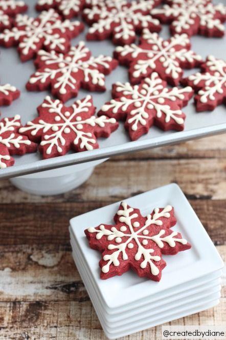 thecakebar:  Red Velvet Christmas Snowflake Cookies Tutorial