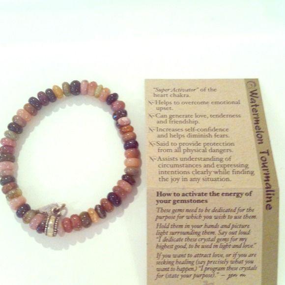 Watermelon tourmaline bracelet with meaning card Watermelon tourmaline bracelet with meaning/activator card. Jewelry Bracelets