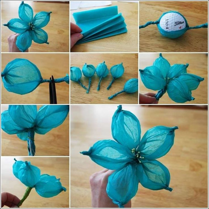 To make this easy-peasy flower you will need 5 rectangular pieces of tissue paper in any color, a golf ball, some plastic stamens, a piece of crafting wire and floral tape. Description from amazinginterior.tumblr.com. I searched for this on bing.com/images