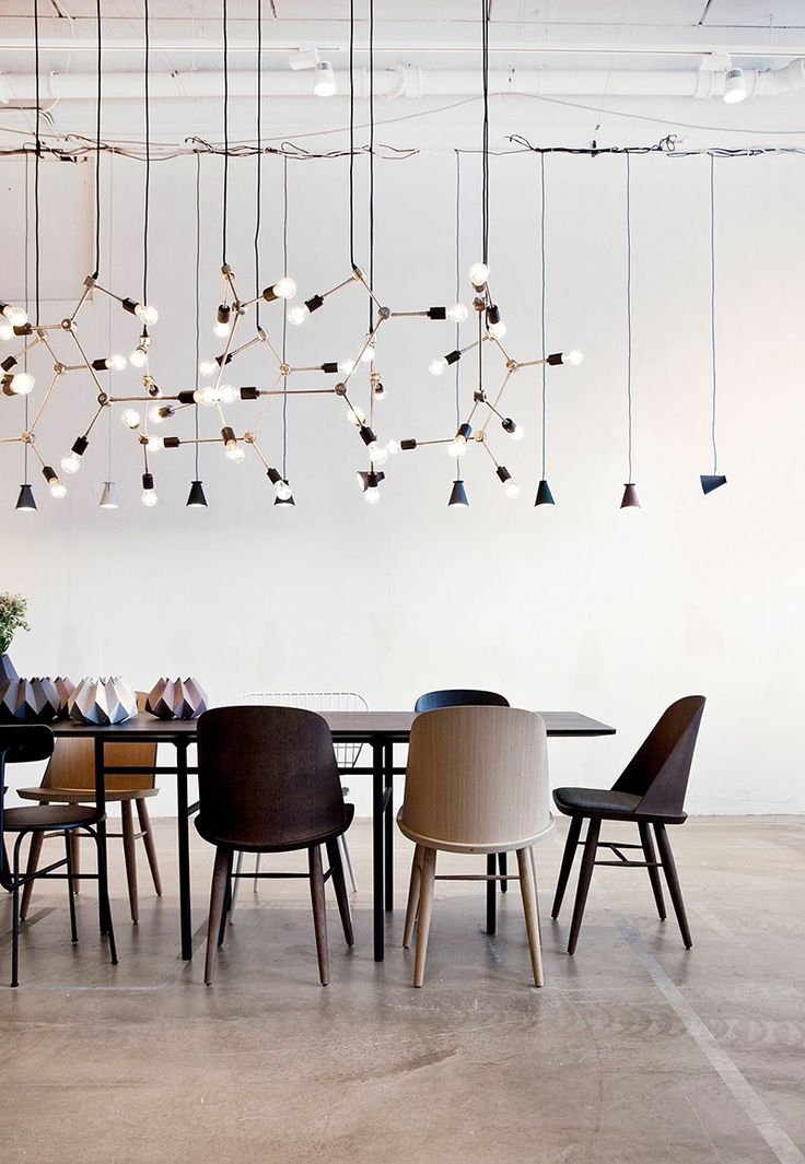 Dramatic dining room lighting