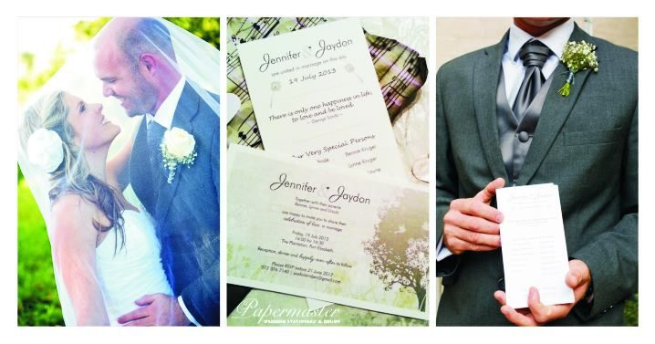 Jen & Jaydon 19  07  2013 — at The Plantation - Exclusive Wedding & Function Venue. Port Elizabeth Wedding Stationery  Papermaster