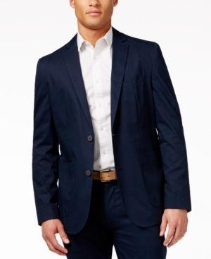 Vince Camuto Men's Navy Hero Print Stretch Cotton Blazer & Pants Suit Separates  - Blue XL