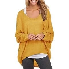 Fashion spring plus size t shirts brief irregular tops sexy Batwing Long Sleeve t-shirt plus size basic shirt 63 - Yellow / XXL