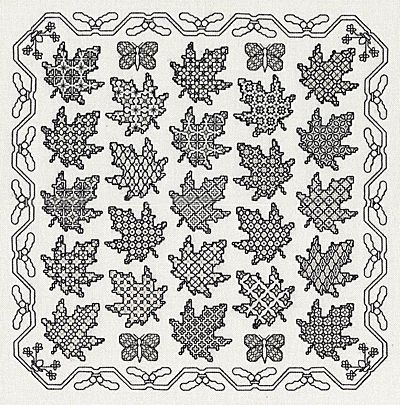 Maple Leaf Sampler Blackwork Kit by Classic Embroidery